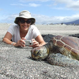 woman and tortise